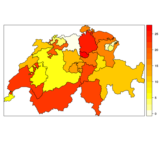 A Modified Shapefile for Plotting Swiss Cantons | Didier Ruedin